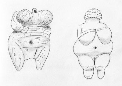 Venus van Hohle Fels met Venus van Willendorf